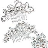 Pack of 2 Bridal Wedding Hair Comb + 20pcs Crystal Pearls Hair Pins Women Hair Side Combs Bridal Head Pin Headpiece