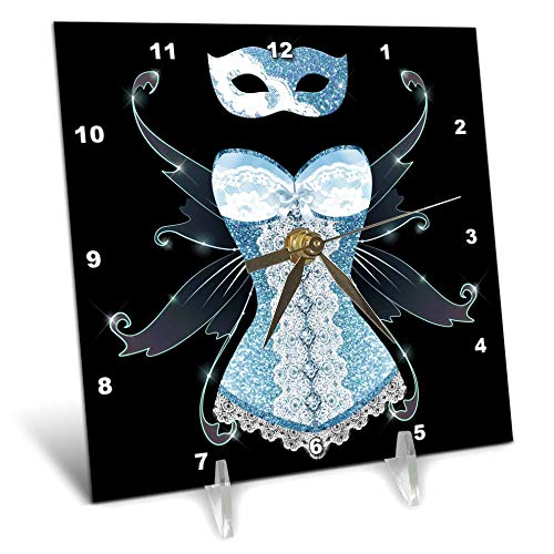 3dRose Anne Marie Baugh - Design - Blue Image of Glitter Corset with Fairy Wings and Masquerade Mask - 6x6 Desk Clock (dc_316276_1)