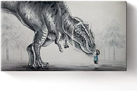 Libaoge Hand Painted Lovely Baby Boy Touching Trex Dinosaur in The Forest Oil Painting on Canvas with Wood Frame, Modern Home Wall Decoration Artwork Ready to Hang
