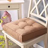 Garden Chair Cushion Thicken Office Chair Seat Cushioning Backrest Pillow Tatami Pad Bay Window Cushions Dining Table Cushions-Khaki 40x40x8cm(16x16x3inch)