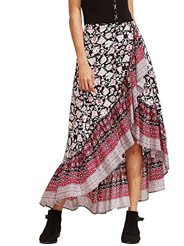 0bd75d33fe32 Derek Mos Women's Floral Print Wrap Skirt Summer Long Maxi Skirt
