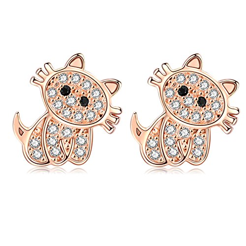 18G Stainless Steel Cute Cat Cubic Zirconia Cartilage Ear Stud Helix Earrings Women Girls 2Pieces(Rose Gold)