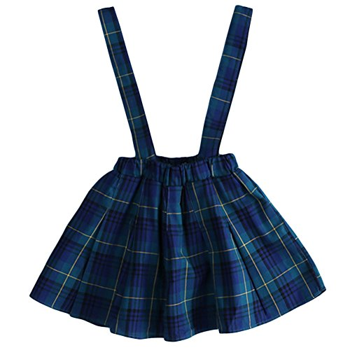 Aulase Toddler Girls Classic Plaid Pattern Suspender Skirt Fashion Overall Dress Green&Blue 2-3Y/Tag 7 by Aulase
