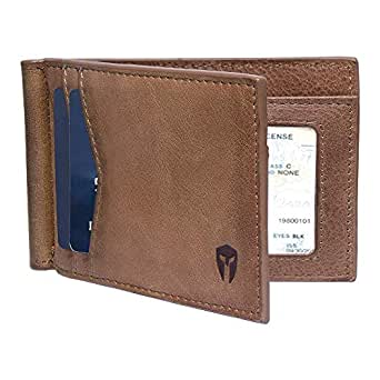 e1f5659bdb34 RFID Blocking Slim Minimalist Front Pocket Wallet, Money Clip, 9 Slots,  Leather