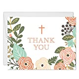 Whimsical Boy Girl Baptism Thank You Cards with Envelopes (Pack of 50) Thanks Gracias Baby Christening Church Ceremony Modern Floral Blank Notecards Religious Sacrament Naming Excellent Value VT0097