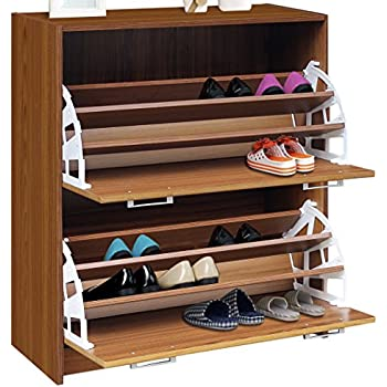4d concepts deluxe double shoe cabinet oak