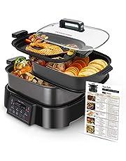 Taylor Swoden Arthur Garer, grill en stoompan, 3-in-1, 1250 W, multifunctioneel apparaat, vooraf ingestelde programma's en handmatige instelling, digitaal display en touchscreen, warmhoudfunctie, BPA-vrij