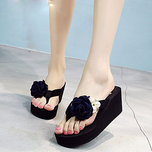 FEI Mules Female summer fashion slippers Beach sandals Female high-heeled thick sandals Anti-skid slippers for 18-40 years Sandals Casual (Color : 1003, Size : 37) 1003