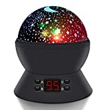 Star Night Light, SCOPOW Star Projector Rotation Night Lamp With LED Timer Auto-off Moon Star Light Projector Nursery Projector Gift Toy for Kid Children Bedroom(Black)
