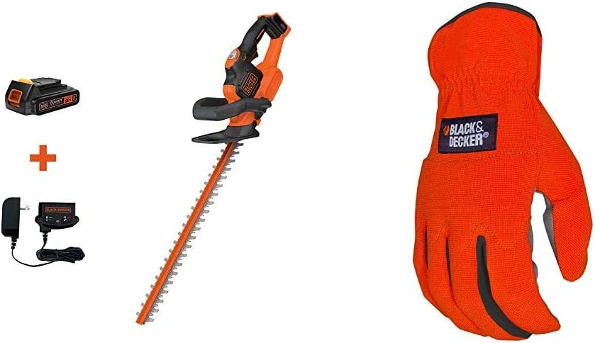 BLACK+DECKER 20V MAX Cordless Hedge Trimmer, 22-Inch with Easy-Fit All Purpose Glove (LHT321FF & BD505L)