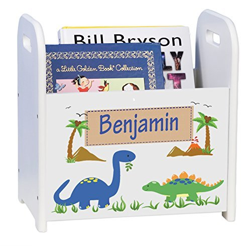 MyBambino Personalized Dinosaurs White Book Caddy and Rack