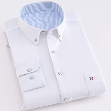 YAYLMKNA Camisa Camisas Hombre Algodón Manga Larga Color Sólido ...