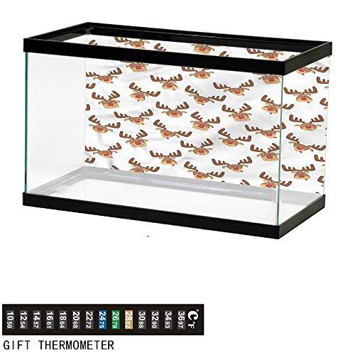 bybyhome Fish Tank Backdrop Antlers,Happy Elk Heads Cartoon,Aquarium Background,36