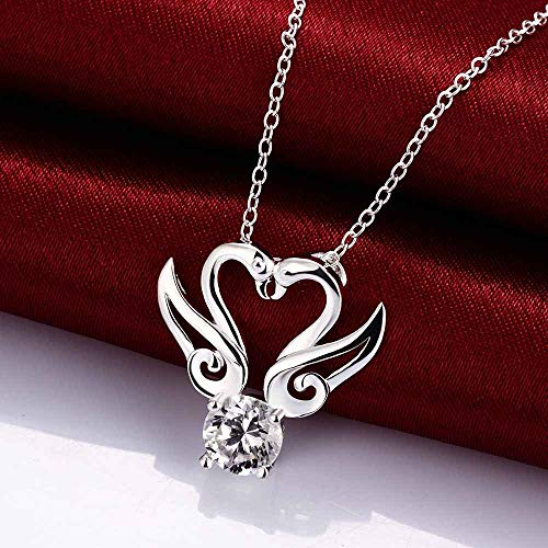 (Nattaphol Wholesale 2018 New Silver Fashion Necklaces for Women doulbe Swan Kiss Angel Wing Crystal Zircon collares Jewelry)