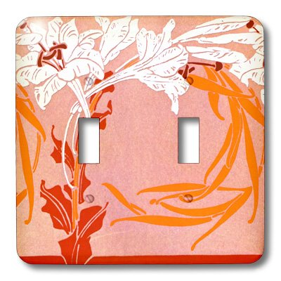 3dRose LLC lsp_11165_2 Orange and White Nouveau, Double Toggle Switch