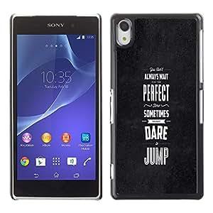 TECHCASE**Cubierta de la caja de protección la piel dura para el ** Sony Xperia Z2 D6502 D6503 D6543 L50t L50u ** Dare Jump Inspiring Motivational Black