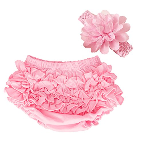 - muyan Wholesale Cotton Baby Bloomers Baby Girls Diaper Covers Bloomers Shorts+Headband in Set (Pink, M(6-12Month))