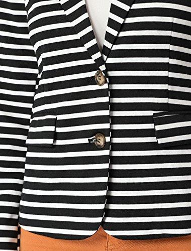 Allegra K Women's Notched Lapel Pocket Button Closure Striped Blazer 19