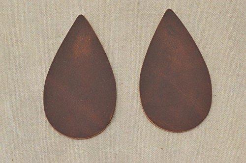 12pk-Leather Teardrop Medium Die Cut Oil Tanned Real McCoy Copper DIY (Die Cut Leather)