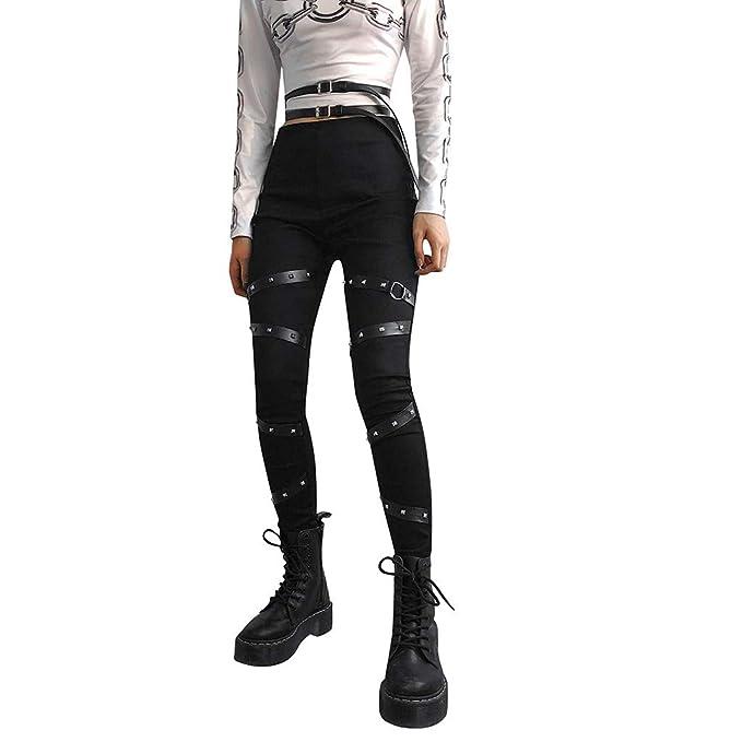 RYTEJFES Pantalones Mujer Pantalones De Yoga Punk Remache ...