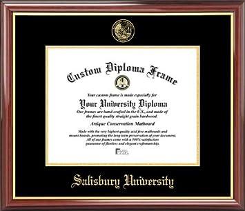 com salisbury university sea gulls embossed seal  salisbury university sea gulls embossed seal mahogany gold trim diploma frame