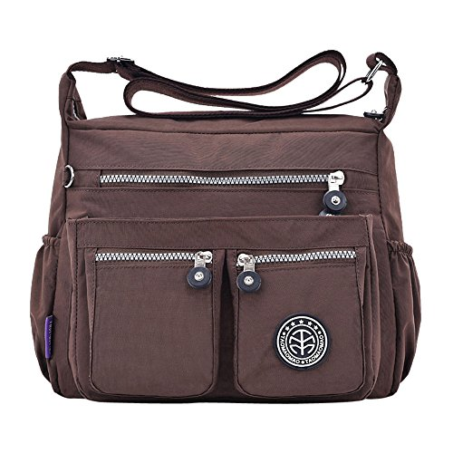 Zipper Coffee Nylon Muium Shoulder Messenger Bags Water Fashion Bags Bag Crossbody Women Solid Repellent Color 6Hq8PF