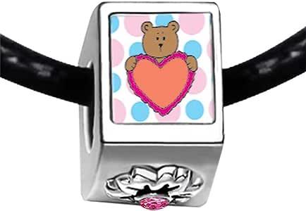 Chicforest Silver Plated Valentine Teddy Bear Photo Light Rose Crystal October Birthstone Flower Charm Beads Fits Pandora Bracelet
