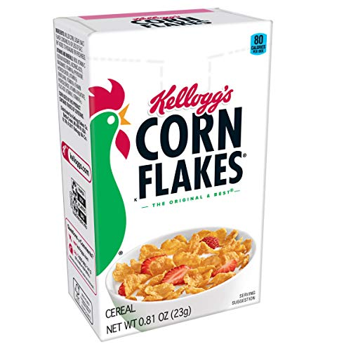 (Kellogg's Corn Flakes, Breakfast Cereal, Original, Fat-Free, Single Serve, 0.81 oz Box(Pack of 70) )