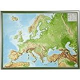 Europa Gross 1:8.000.000 mit Rahmen: Reliefkarte  Europa mit grünfarbenen Holzrahmen