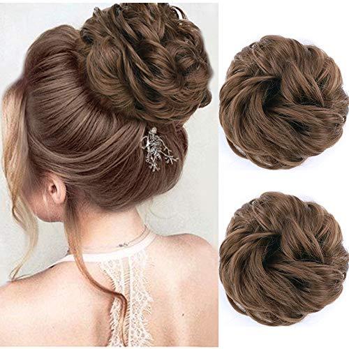MORICA Messy Bun Hair Scrunchies 2PCS Messy Bun Hair Piece for Women Curly Wavy Scrunchy Updo Bun Extensions(Color:12#) (Buns Hair Human Extensions)