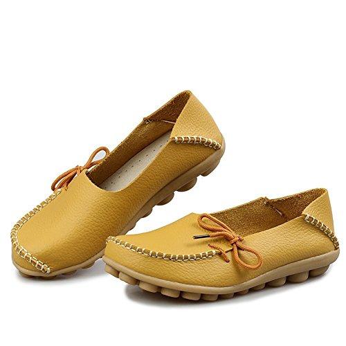 Amerikaanse Trends Dames Leren Veterschoenen Loafers Pantoffel Platte Pumps Slip-on Geel