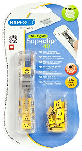 Rapesco Supaclip #40 - See Through Dispenser with 25 Emoji Clips (1370)
