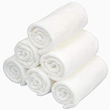 limpieza facial toallitas desmaquillante toallitas de microfibra antibacterial secado rápido paños de la cara de lavado 6 pack (30 x 30 cm blanco): ...