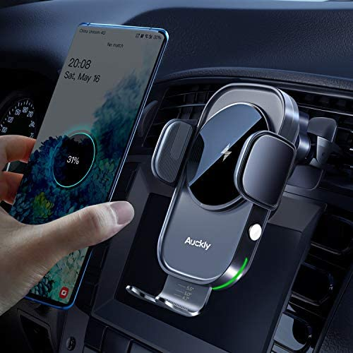 Auckly Wireless Car Charger,[Electromagnetic Sense],Qi 15W Fast in Car Wireless Charger Automatic Sensor Phone Holder Vent Mount Compatible for S20/S10,for iPhone 12 Pro Max Mini 11/11 Pro XS/XR etc