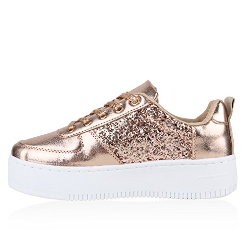 Flandell Plateau Damen Plateau Stiefelparadies Gold Rose Metallic Sneaker wP7wq86