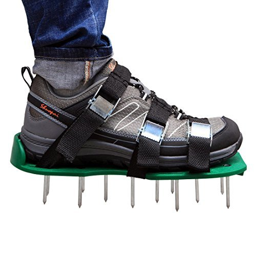 Lawn Aerator Shoes, Autley Lawn Aerator Sandals with 3 Straps, Zinc Alloy Metal Buckles and Heavy Duty Spikes for Aerating Lawn or Yard by Autley