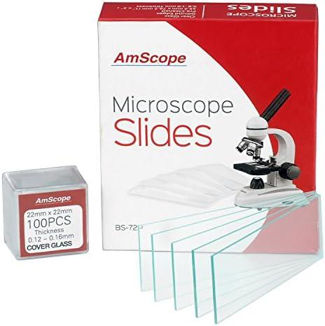 AmScope BS-72P-100S-22 72 Stück vorgereinigte Blanko-Mikroskop-Objektträger und 100 Stück 22 x 22 mm quadratische Abdeckgläser
