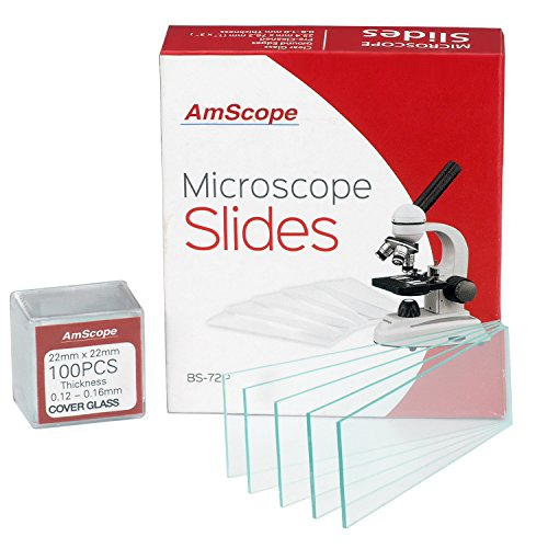 AmScope BS-72P-100S-22 72 Pieces of Pre-Cleaned Blank Microscope Slides and 100 Pieces of 22x22mm Square Coverslips Cover Glass (Cover Glass Slide)