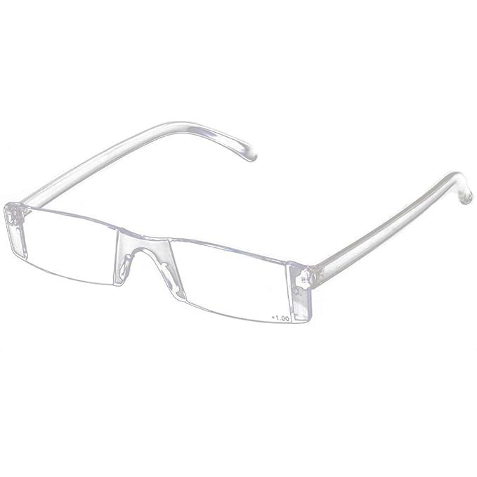 Gafas rectangulares plegables y transparentes sin montura. Opción de coger packs.