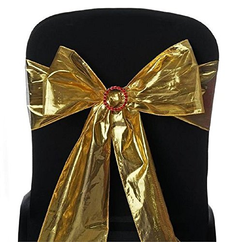 sarvam Fashion Set Of 50 Chair Decorative Shimmering Polyester Sashes Bow Designed For Wedding Events Banquet Home Kitchen Chair Sash Bow - [6'' x 108''] For Wedding Party Events Decor Gold by sarvam Fashion