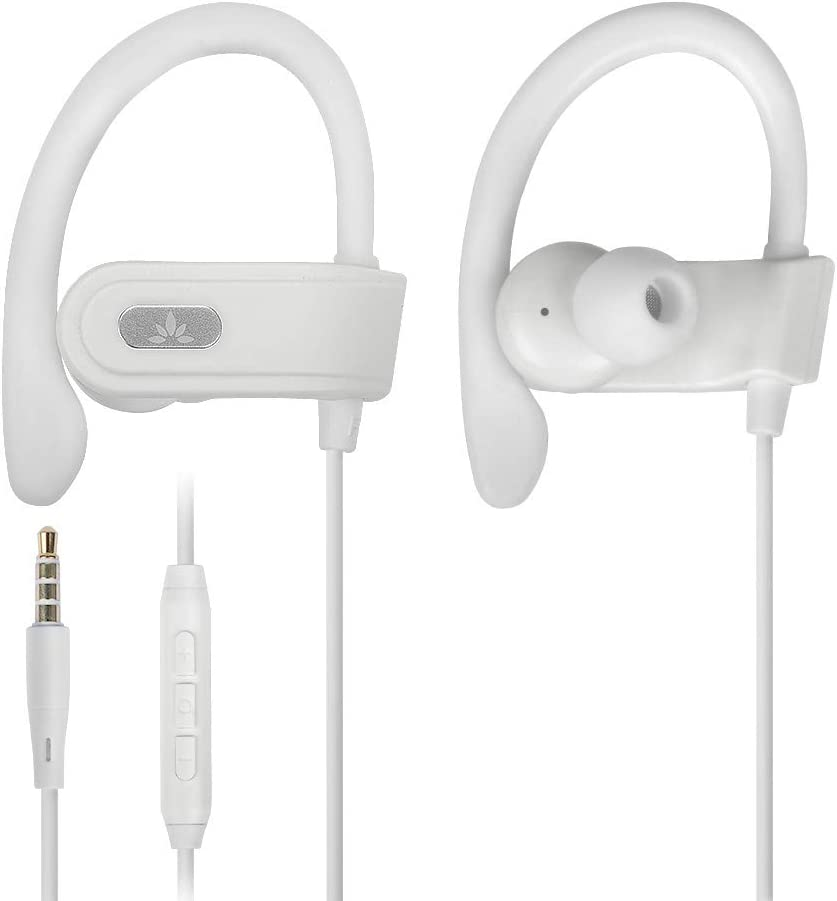 Avantree E171 Sports Earbuds Wired with Microphone, Sweatproof Wrap Around Earphones with Over Ear Hook, in Ear Running Headphones for Workout Exercise Gym Compatible with iPhone, Cell Phones - White