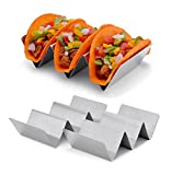 Taco Holder Set of 2 Stainless Steel Taco Stand Oven Safe for Baking & Dishwasher Safe each stand Holds up to 3 Hard or Soft Taco Shells by TriMaxShop