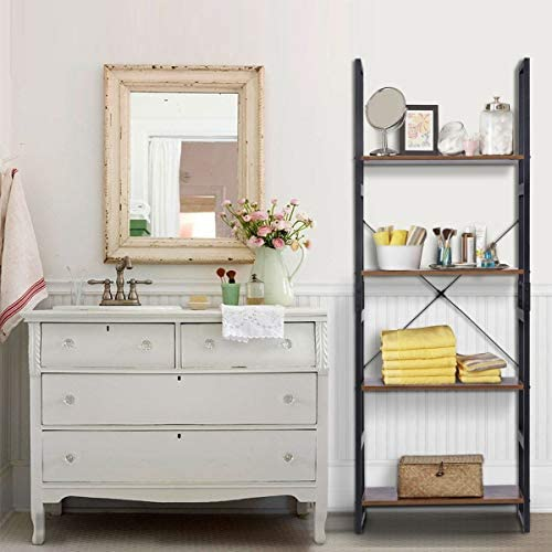 home, kitchen, furniture, home office furniture,  bookcases 6 on sale KINGSO Industrial Ladder Shelf 4-Tier Shelves Bookshelf in USA