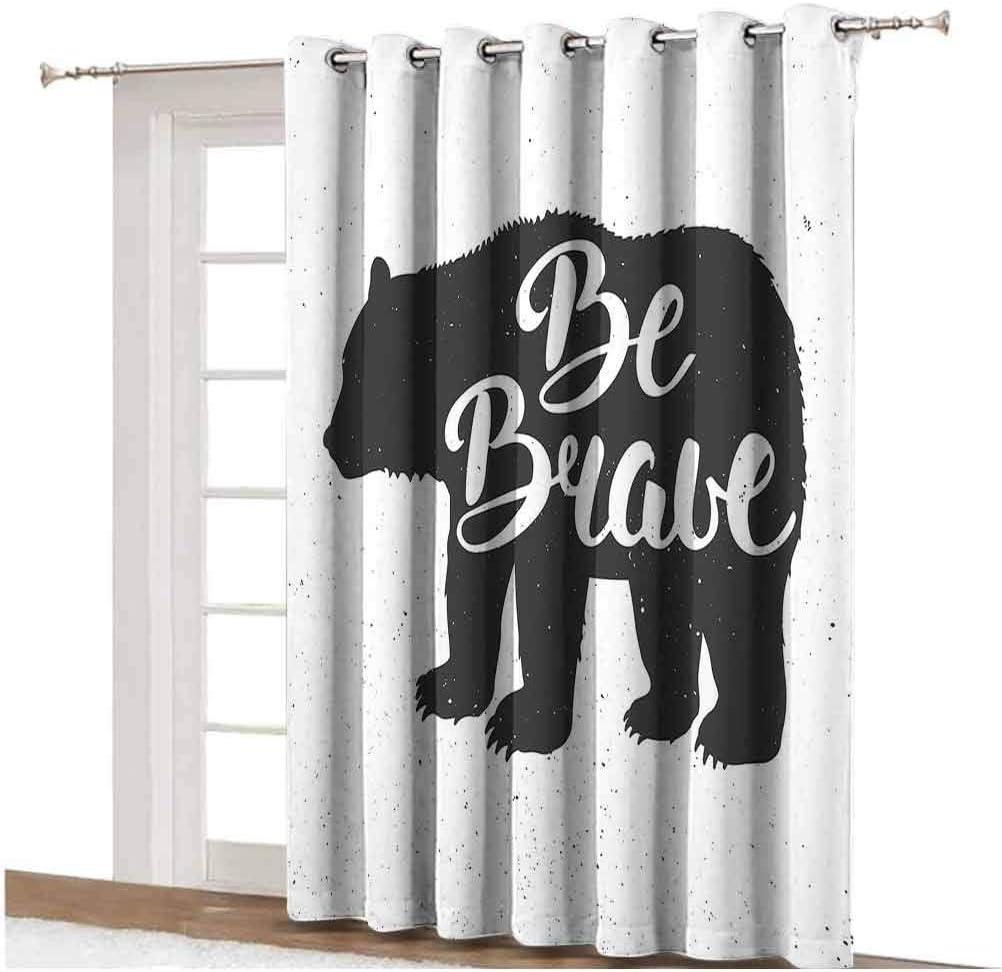 Cabin Decor Sliding Door Curtain Vintage Bear Be Brave Motivational Slogan Handwritten Lettering Courage Thermal Backing Sliding Glass Door Drape Single Panel 63x72 inch,for Sliding Door Black and Wh