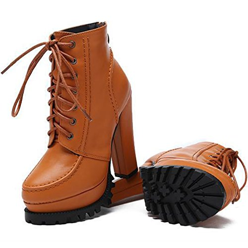 Oasap Women's Lace-up Platform Chunky High Heel Ankle Boots Brown