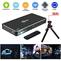 Pico Projector Portable Mini Pocket Projector Movie LED DLP HD 1080P for Iphone Android Phone Support Wifi/HDMI/Bluetooth/USB/TF Card/Audio Cable /TV Box Micro Projector Home Theath