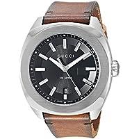 Gucci Acero Inoxidable y piel Vestido reloj de cuarzo suizo de los hombres, color: café (Modelo: ya142207)