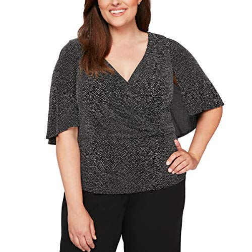 Alex Evenings Women's Plus Size V-Neck Printed Blouse with Capelet Sleeves, Black/White 3X