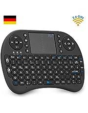 Rii i8 Mini Tastatur Wireless, Mini Tastatur Kabellos mit Touchpad, 2.4 GHz Mini Wireless Keyboard für Smart TV, Raspberry Pi,HTPC,IPTV,Android TV-Box,XBOX360,PS3,PC,Linux,Windows 2000 XP Vista 7 8 (92 Keys DE QWERTZ)
