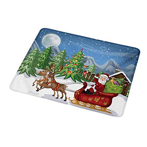 Non-Slip Rubber Mouse Pad Christmas,Country Landscape at Night with Trees Santa Claus Snowdrift Reindeers Mountains,Customized Desktop Laptop Gaming Mouse Pad 9.8